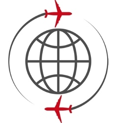 icon plane and the globe vector image