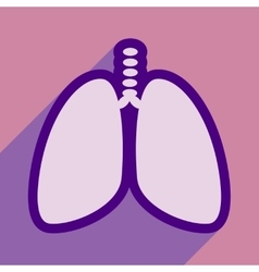 Icon of human lungs in flat style vector