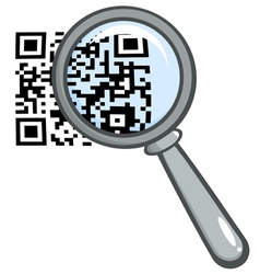 Magnifying glass over a qr code vector
