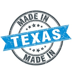 Made in texas blue round vintage stamp vector