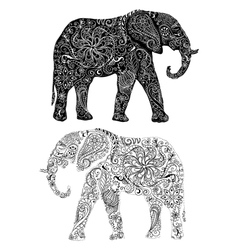 Two elephants silouettes vector image