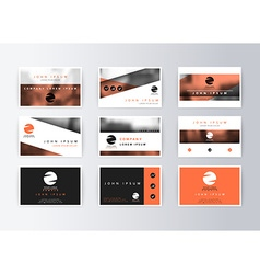 Set of business cards orange background template vector