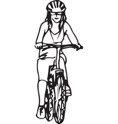 abstract of woman taking a ride on a bicicle vector image