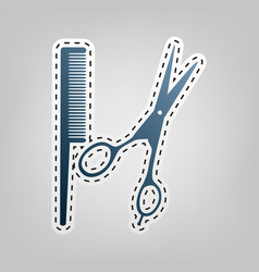Barber shop sign blue icon with outline vector