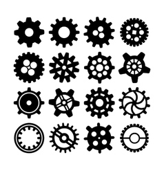 Black different silhouettes of cogwheels on white vector