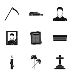 Burial icons set simple style vector