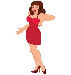 Cartoon sexy brunet woman in mini red dress vector image