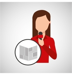 Character woman reporter news microphone graphic vector