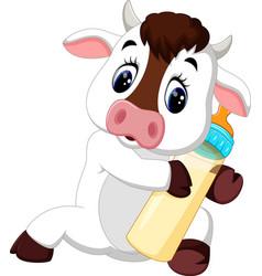 cute baby cow cartoon vector image vector image