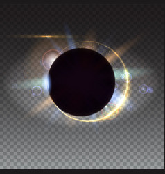 Digital solar eclipse light rays and lens flare vector