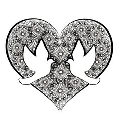 Doves with flourishes heart vector