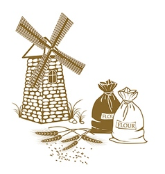 ears of wheat sacks of flour and windmill on the vector image