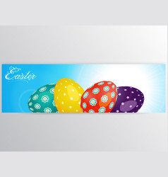 Easter banner with eggs over blue sky vector