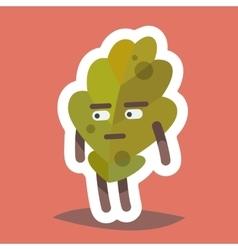Emoticonn Icon Suspicious Leaf vector image