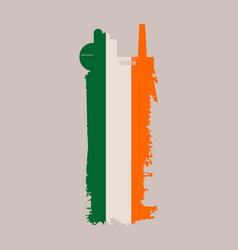 Factory icon and grunge brush ireland flag vector