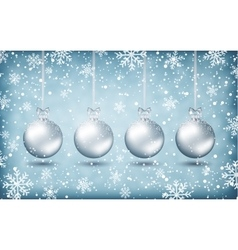 Four christmas balls with ribons vector