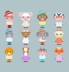 Geek hipster cute animal boy girl cubs mascot vector