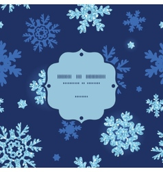 Glitter snowflakes dark frame seamless pattern vector