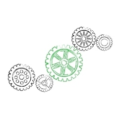 Green gear with black gears vector image