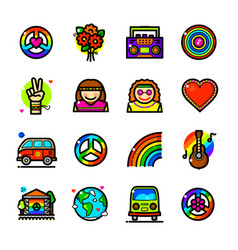 hippie icons set vector image