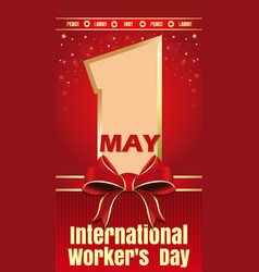 International workers day card 1 may labor day vector
