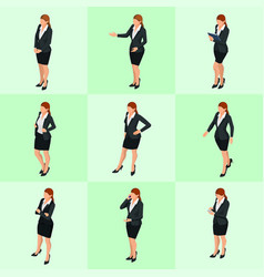 Isometric elegant business women in formal clothes vector