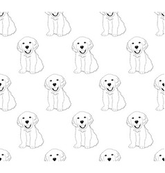 Labrador golden retriever dog seamless on white vector
