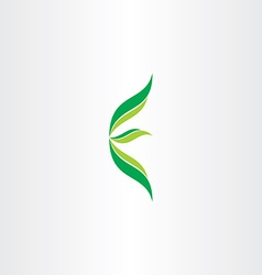 Letter e ecology green logo with leaves vector
