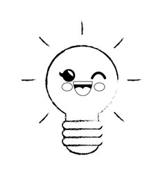 light bulb cartoon smiley vector image