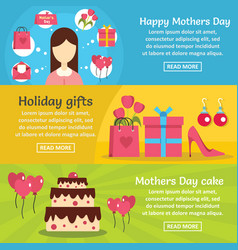 mothers day banner horizontal set flat style vector image vector image