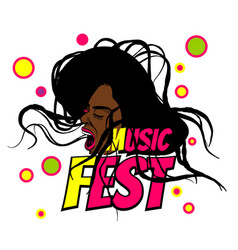 Pop art black woman scream music festival vector