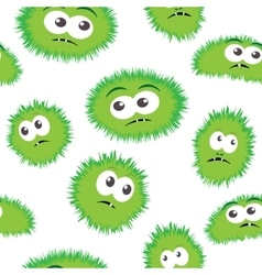 Seamless pattern bacteria with monster face vector image vector image