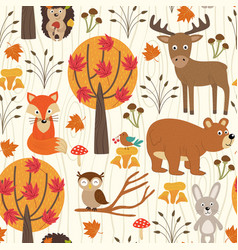 Seamless pattern with autumn forest vector