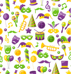 seamless texture with set carnival and mardi gras vector image vector image