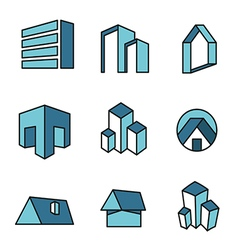 Set of real estate house logo designs vector