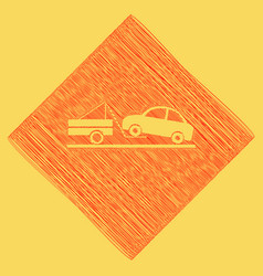Tow truck sign red scribble icon obtained vector