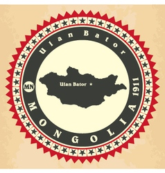 Vintage label-sticker cards of mongolia vector