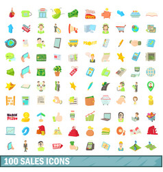 100 sales icons set cartoon style vector image vector image