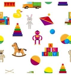 Kids toys flat style seamless pattern vector image