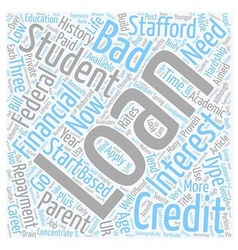 Student loans and bad credit text background vector