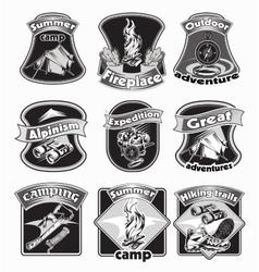 Backpacking emblems set vector