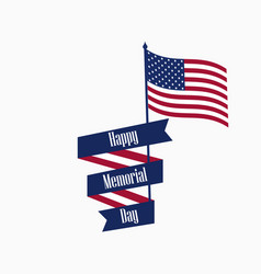 Happy memorial day ribbon with text and american vector