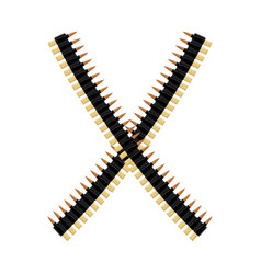 Cartridge belt bullet tape isolated bandolier on vector