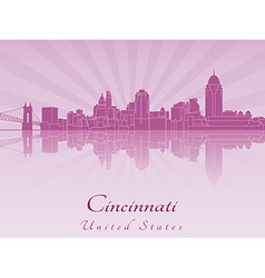 Cincinnati skyline in purple radiant orchid vector