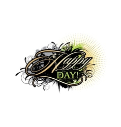Abstract inscription happy day vector