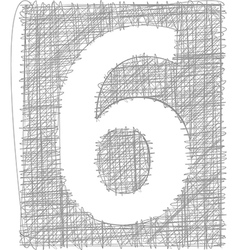 Freehand typography number 6 vector