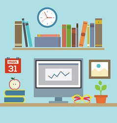 Flat design workplace vector