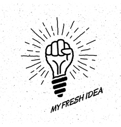 Fresh idea lamp in the shape of a hand vector