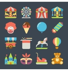 Carnival in amusement park flat icons vector