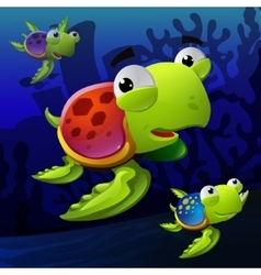Turtles underwater vector